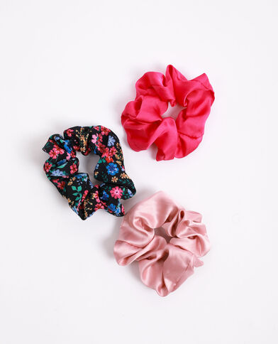 Set van 3 scrunchies fuchsiaroze