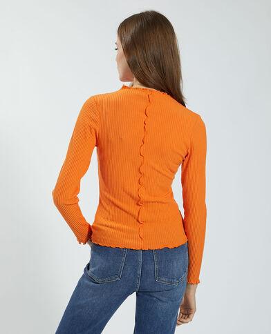 Geribbeld en golvend T-shirt oranje - Pimkie