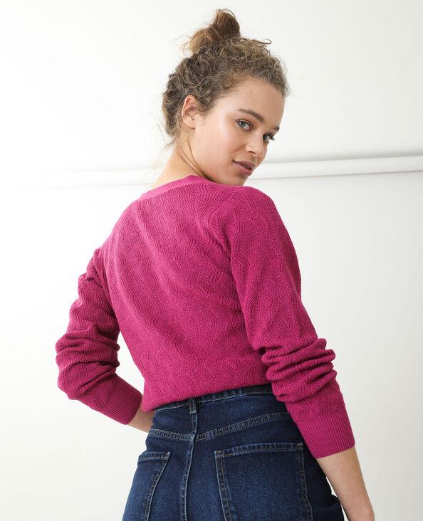 Vest van origineel tricot fuchsiaroze - Pimkie