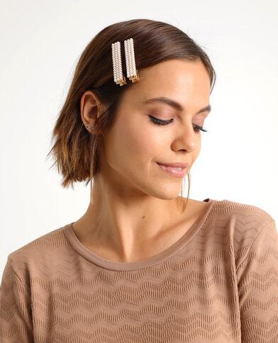 Set van 2 haarklemmen met parels wit