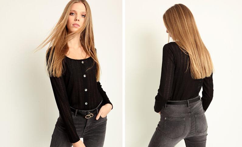 T-shirt met knopen zwart
