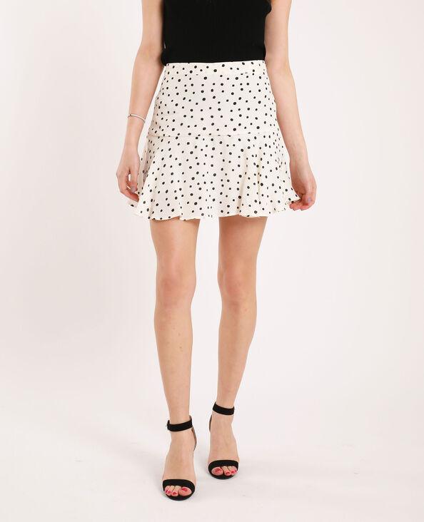 Mini jupe à fleurs blanc