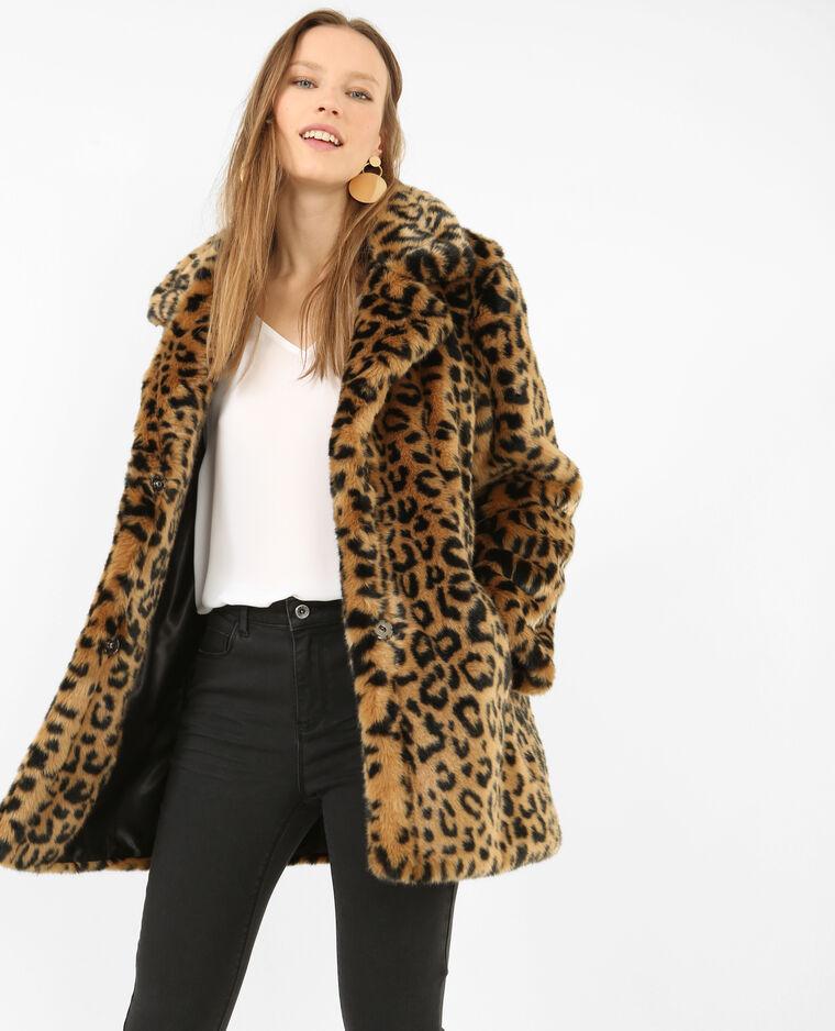 taille 40 bc4f0 05147 Manteau léopard fausse fourrure