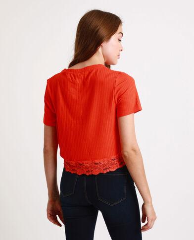 T-shirt court à dentelle orange