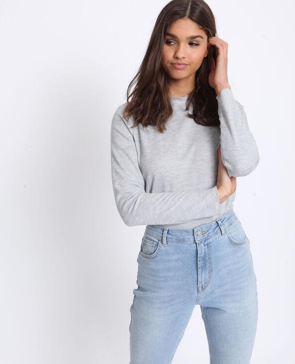 T-shirt à col montant gris chiné