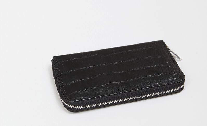Portefeuille croco noir