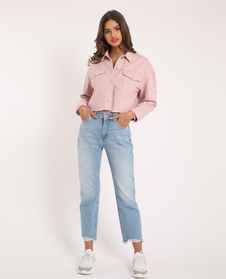 Veste en jean courte rose