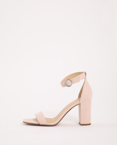 Sandales à talons microfibre rose poudré