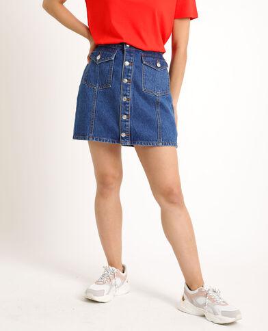 Jupe en jean boutonnée bleu brut
