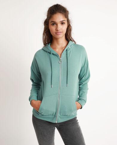 Sweater met kap en rits blauw
