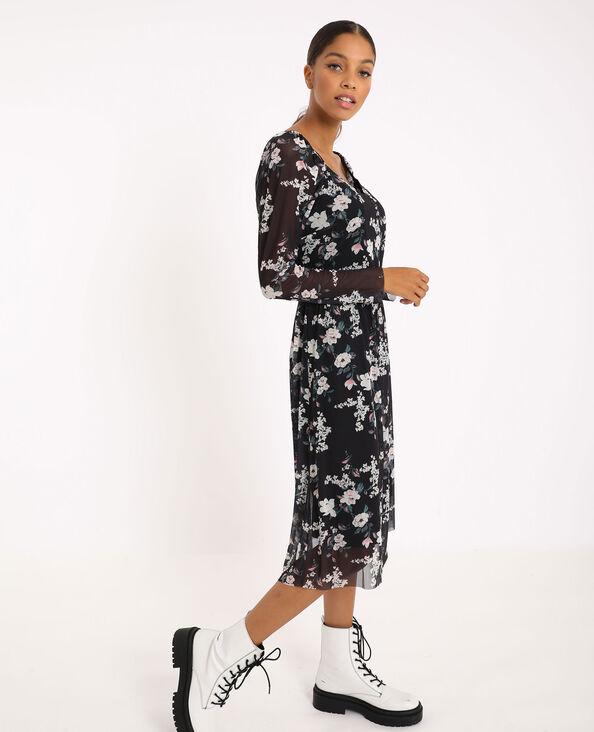 Lange jurk met bloemenprint zwart