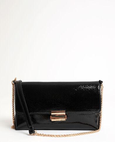 Soepele tas met lakeffect zwart