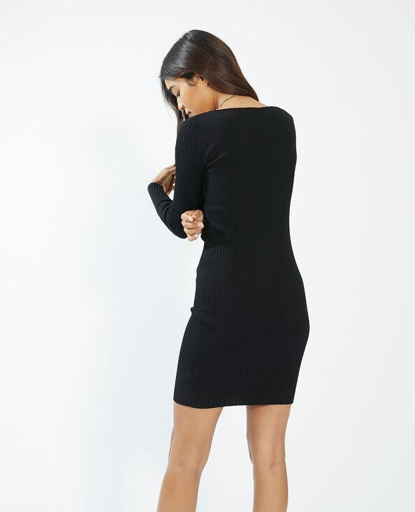 Korte geribde jurk zwart - Pimkie
