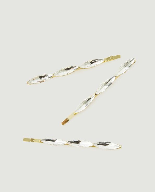 Set van 3 haarspeldjes met stras goudkleurig - Pimkie