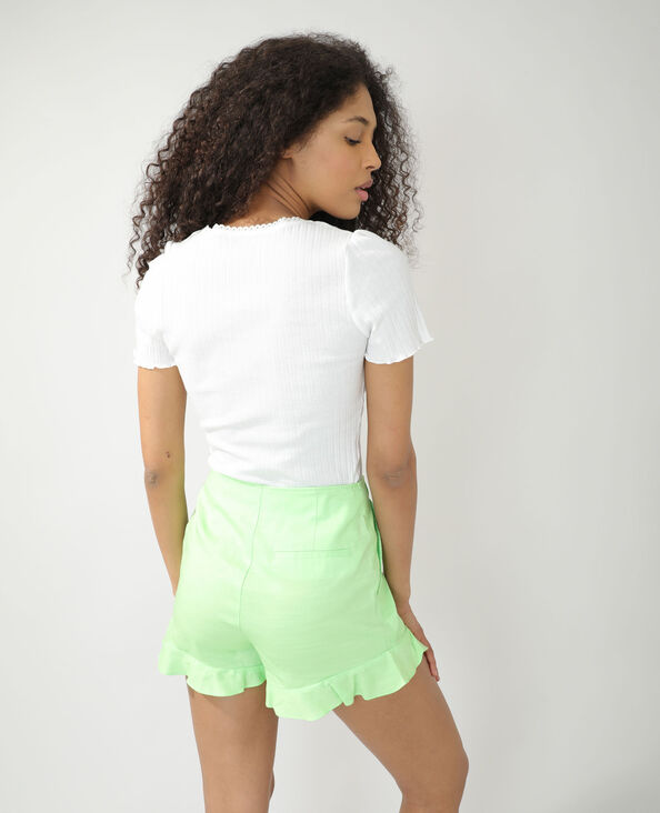 T-shirt van ribstof gebroken wit - Pimkie