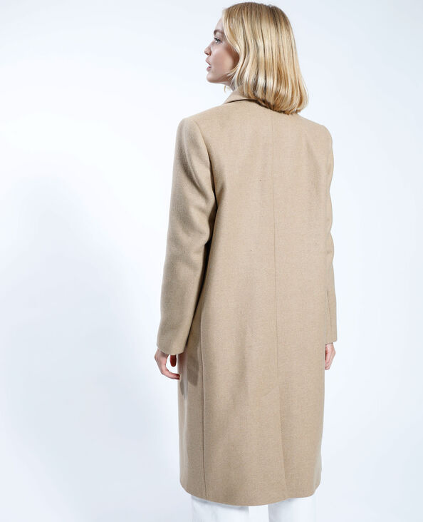 Lange mantel met wolaandeel camel - Pimkie