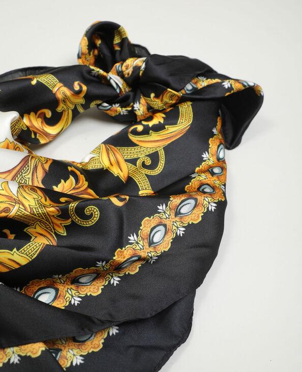 Satijnachtige sjaal zwart