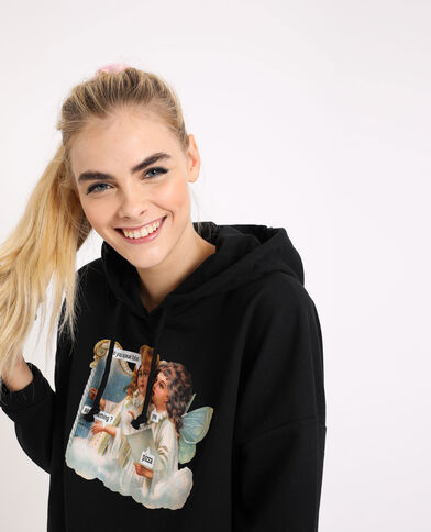 Korte sweater met meme zwart
