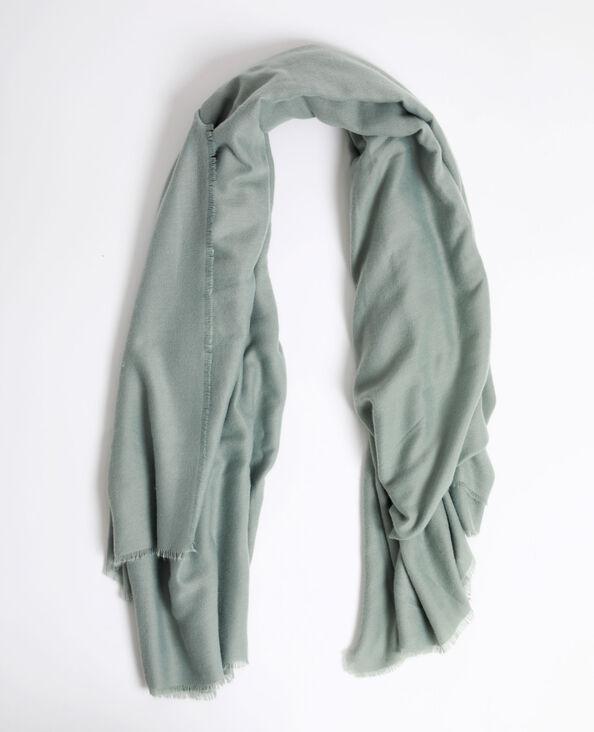Sjaal met franjes aan de uiteinden groen