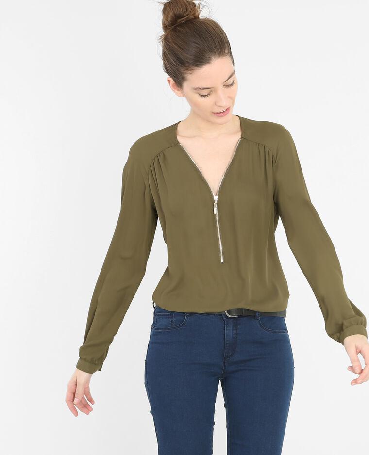 Blouse zippée vert