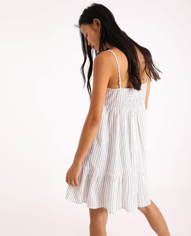 Robe courte à rayures blanc cassé