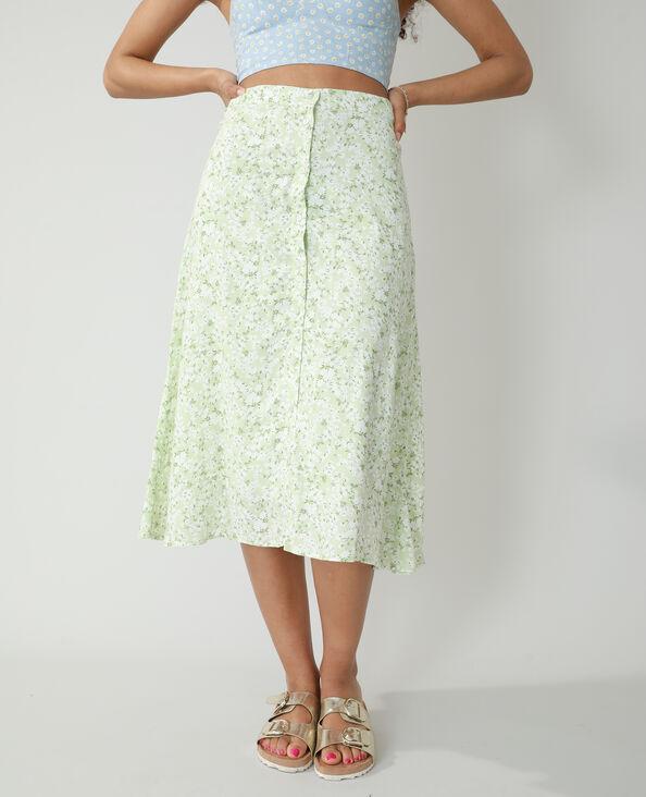 Halflange rok met knopen en bloemenprint groen - Pimkie