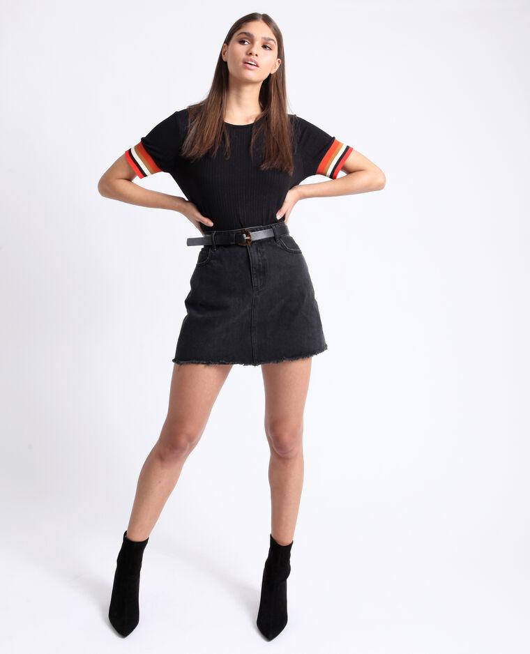 T-shirt aux manches colorées noir