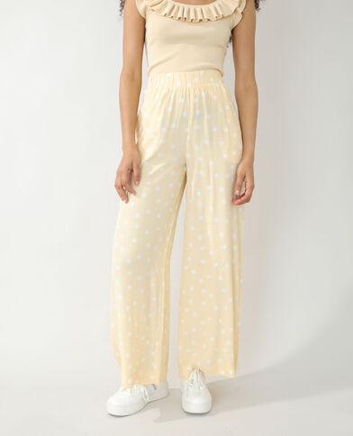 Wide leg broek met stippen geel - Pimkie
