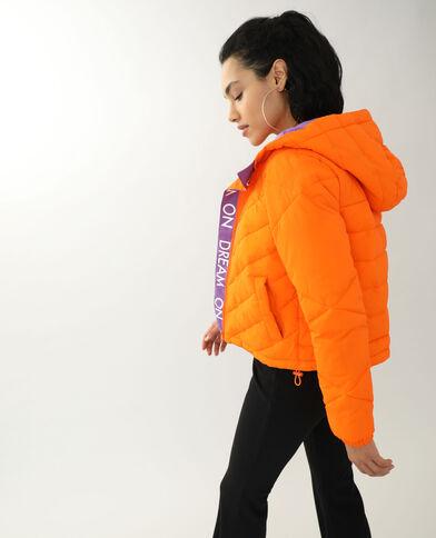 Tweekleurige donsjas oranje