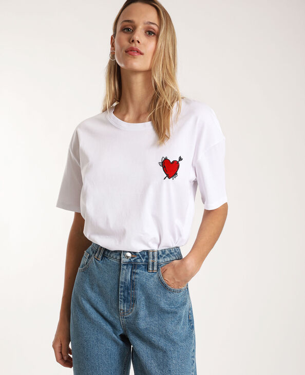 T-shirt met patch wit