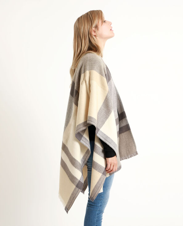 Poncho à carreaux marron