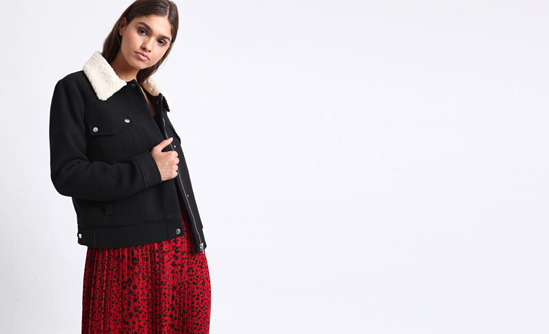 Wollen blouse zwart