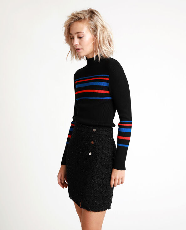Gestreepte, strakke trui zwart