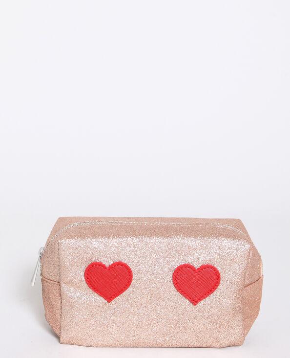 Make-uptasje met hartjes bleekroze