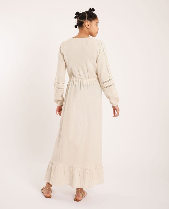 Robe longue rustique beige