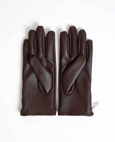 Gants en faux cuir clouté marron