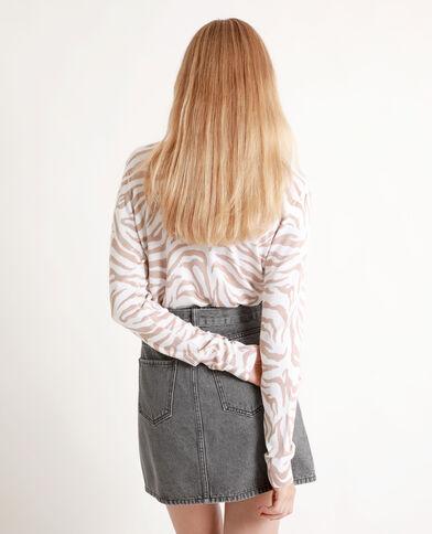 Dunne trui met zebraprint gebroken wit
