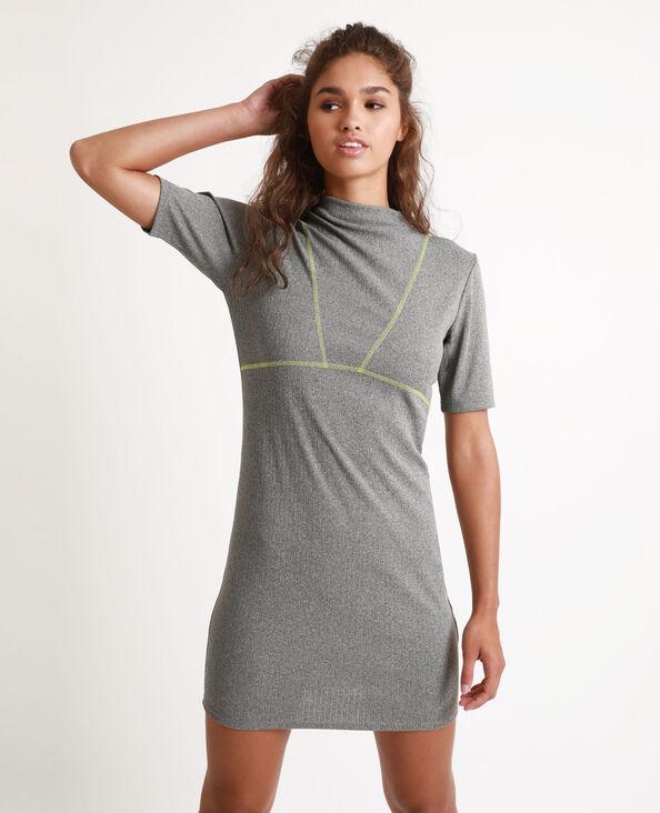 Tweekleurige jurk gemêleerd grijs