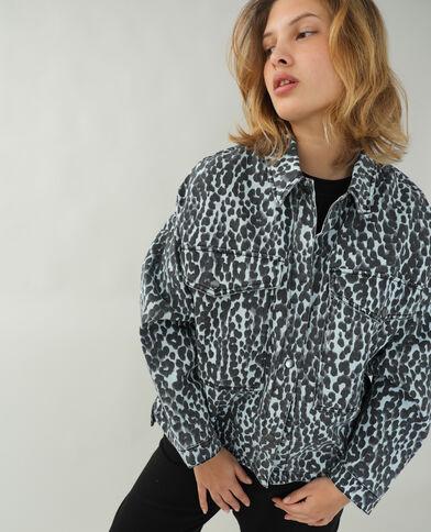Surchemise en jean léopard bleu