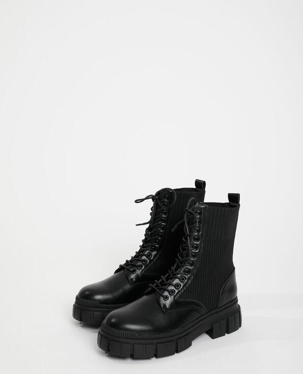Boots met tricot zwart - Pimkie