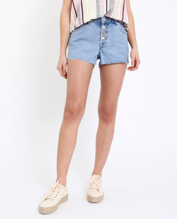 Jeansshort met middelhoge taille verwassen blauw