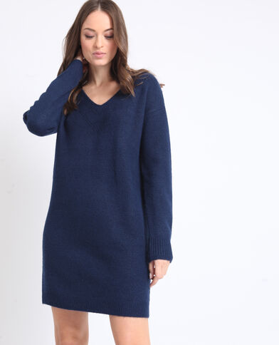 Trui-jurk met V-hals donkerblauw