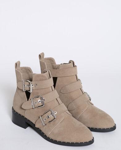 Laarzen met gespen ecru