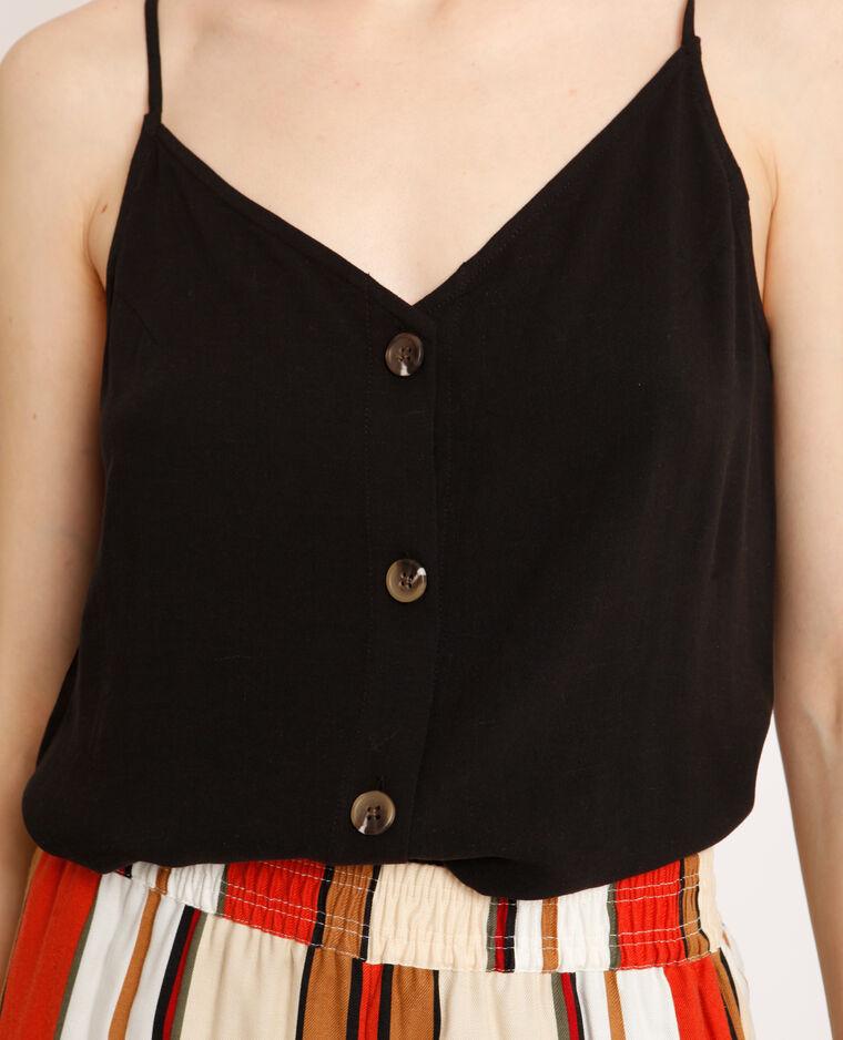 Topje met dunne schouderbandjes zwart