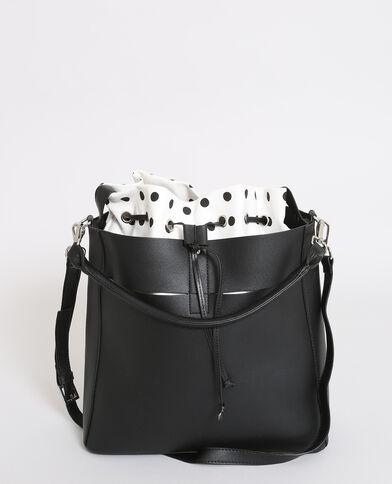 Bucket bag van 2 materialen zwart