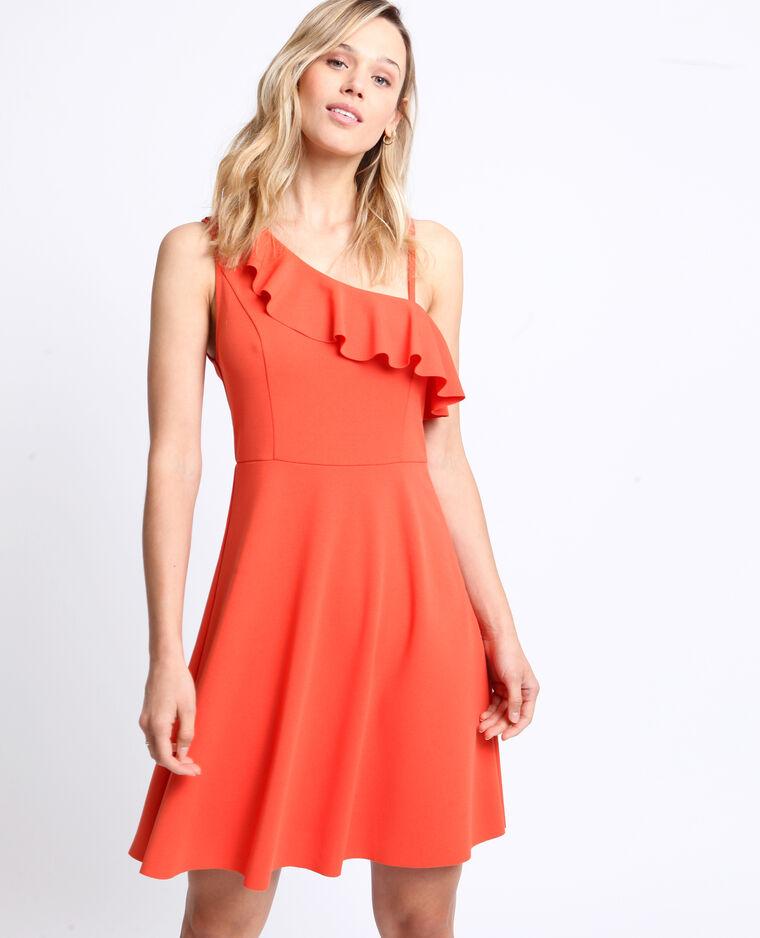 Asymmetrische jurk roestkleur