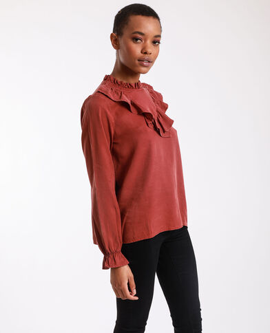 Blouse met ruches terracotta