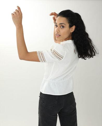 Opengewerkte blouse gebroken wit
