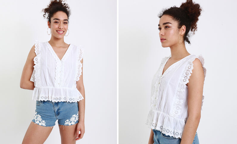 Geborduurde blouse wit