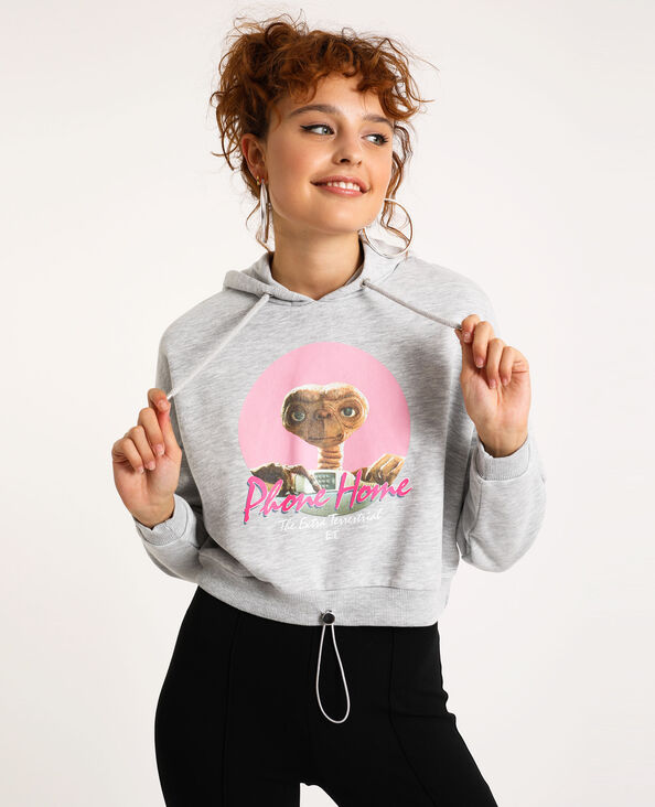 Cropped sweater met kap grijs